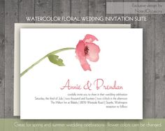 Modern Floral Wedding Invitations- Pink Watercolor Flowers Country Printable Wedding Invitations with Flowers - you choose all colors
