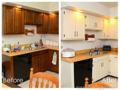 kitchen cabinet makeover - white cabinets with diy instructions.  black appliances