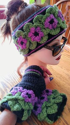 Magenta Fleece Lined Headband Elven Collection ( gloves sold separately) — Alily Crochet