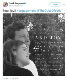 Fergie could not contain her excitement over the happy news, tweeting an image of her daugter and fiance. Princess Eugenie and Jack Brooksbank in the Picture Gallery at Buckingham Palace in London announce their engagement.  22 JAN 2018