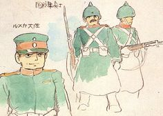 Film: Castle In The Sky ===== Character Design: Soldiers ===== Production Company: Studio Ghibli ===== Director: Hayao Miyazaki ===== Producer: Isao Takahata ===== Written by: Hayao Miyazaki ===== Distributed by: Toei Company