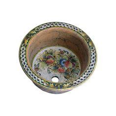 Rundes italienisches Waschbecken aus Keramik - Rundes Decorative Plates, Sink, Tableware, Design, Home Decor, Powder Room, Moroccan Tiles, Vanity Basin, Italy