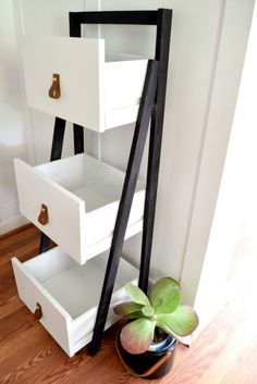 This little DIY Ladder Shelf went modern with a little black paint and DIY leather drawer pulls. Simple updates took this ladder shelf to a new level! Refurbished Furniture, Repurposed Furniture, Furniture Makeover, Chair Makeover, Furniture Projects, Furniture Making, Diy Furniture, Furniture Storage, Furniture Refinishing