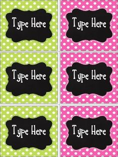 Free today ! Editable Chalkboard & Bright Pink and Green Polka Dot Labels contains 6