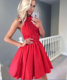 A-Line Jewel Backless Red Homecoming Dress with Appliques,Short Homecoming Dresses , Juniors Homecoming Dresses, Cheap Homecoming Dresses,Dresses For Homecoming