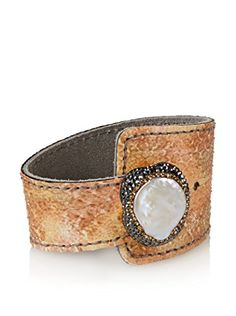 Grand Bazaar Baroque Pearl & Leather Cuff, Light Brown