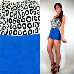 Vintage 50s COLOR BLOCK Mod Op Art Black White Blue Cotton Mini dress shorts Romper Playsuit Swimsuit Pin Up Onepiece Cole of California XS on Etsy, $112.00. I die!!