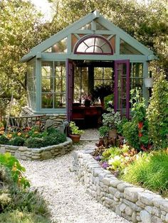 Both a garden resort and a greenhouse? Yes, please. Both a garden resort and a greenhouse? Yes, please. Greenhouse Shed, Greenhouse Gardening, Small Greenhouse, Window Greenhouse, Pallet Greenhouse, Outdoor Greenhouse, Portable Greenhouse, Fairy Gardening, Greenhouse Wedding