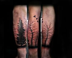 Free hand half sleeve trees done by Aaron Carey of Ink Daddys in Salem Oregon.