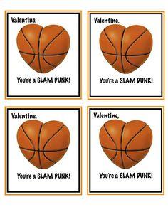 Free printable basketball valentines