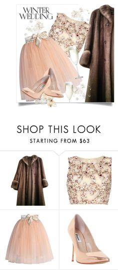 """""""Peachy Winter Wedding"""" by interesting-times ❤ liked on Polyvore featuring Christian Dior, Raishma, Chicwish, Dune, Crate and Barrel and winterwedding"""