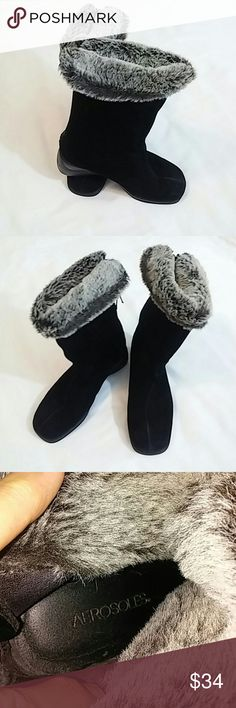 Aresole suede faux fur boots 7 Aresole black suede and faux fur boots zipper in back like new condition size 7 aresole Shoes Winter & Rain Boots