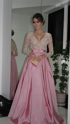 Evening Dresses Long Sleeves V Neck Beaded Bodice Ruffled Taffeta A-Line Ball Gowns Mother Of The Bride Dresses Evening Gowns With Belt Elegant Dresses, Formal Dresses, Formal Prom, Classy Gowns, Beaded Prom Dress, Dress Prom, Dress Lace, Pink Dress, Prom Dresses Long With Sleeves