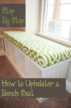 Step by Step How to Upholster a Bench Seat - This is really not that hard to do, it turned out great! Home Project furniture Step by Step- How to Upholster a Bench Seat – Sunlit Spaces Window Seat Cushions, Window Benches, Bench Cushions, Custom Cushions, Window Seats, Upholstered Bench Seat, Diy Bench Seat, Bench Decor, Ikea Hack Bench