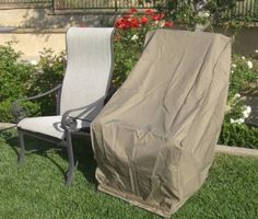 Premium Tight Weave Patio Hi Back Chair Covers set of 4 with Velcro up to H in Taupe
