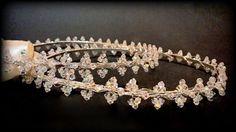Wedding Crowns.Stefana.Swarovski Crystal Crowns.Knitted Orthodox Crowns.Wedding Headband.Silver Plated.Στεφανα.Stephana.CRYSTALFLOWERS. by RaniaCreations on Etsy
