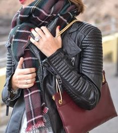 leather jacket + plaid scarf http://rstyle.me/n/q8k9e4ni6 #leatherfashion #falloutfits