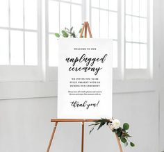 This is a downloadable, printable Unplugged Ceremony Wedding Sign  ORDER INCLUDES:  - JPG : 24x36 - PDF : 24x36 with bleed, crop and registration marks  PLEASE NOTE: You will not receive a physical print in the mail afetr purchasing this listing. However, the file you receive is yours to use and print out as many times as you want.  MATCHING ITEMS:  Menu: https://www.etsy.com/listing/526092493/printable-wedding-menu-custom-wedding?ref=shop_home_active_5  Wedding ...