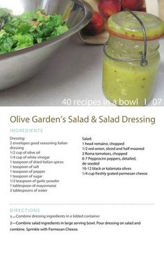 Olive Garden Salad Dressing I made this & had to make some adjustments cuz it was way to salty. Use only 1 Italian dressing mix Do not add the extra salt Copycat Recipes, New Recipes, Cooking Recipes, Favorite Recipes, Healthy Recipes, Delicious Recipes, Olive Garden Salad, Olive Garden Recipes, Olive Garden Dressing