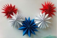 Easy 4th of July craft project. Use red, white, and blue craft paper to make this festive flower for your home decor and party decor. You can string these flowers together to make a garland and hang it on your mantle. Materials red, white, and blue craft paper scissors glue