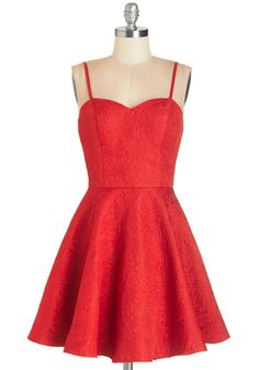 The Heart Glows Fonder Dress by Chi Chi London - Short, Woven, Red, Solid, Party, Valentine's, Fit & Flare, Spaghetti Straps