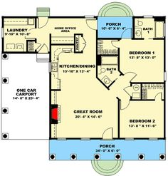 Cute And Living Large - floor plan - Main Level Br House, House With Porch, Cozy House, One Floor House Plans, Small House Plans, Floor Plans, 1200 Sq Ft House, Cute Small Houses, Build My Own House
