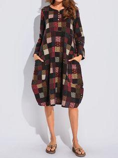 Vintage Printed Long Sleeve Dresses