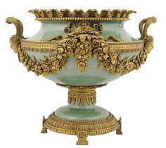 Louis XVI style celadon porcelain centre bowl with bronze mounts