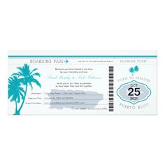 Gray and Teal Puerto Rico Boarding Pass Wedding Card