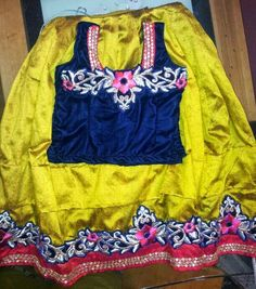 Yellow and Blue Embroidered Lehenga | Indian Dresses