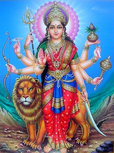 Durga, identified as Adi Parashakti, is a Hindu warrior goddess. Also known as Shakti or Devi, is the protective mother of the universe. All artwork is professionally printed on high quality heavy matte photo paper. Saraswati Goddess, Durga Maa, Mother Goddess, Goddess Lakshmi, Shiva Shakti, Divine Mother, Goddess Art, Navratri Puja, Navratri Images