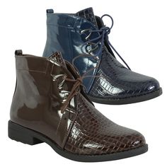 Womens Retro Chic Pointed Toe Brogue Lace Up Low Heel Ankle Boots High Top Shoes