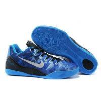 Nike 652908-404 Kobe 9 EM Low Blue Sivler Black shoes