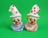 Circus Clown Salt & Pepper Shakers - Child's Birthday Cake Topper