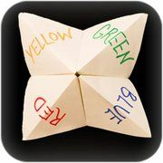 Paper fortune teller game.  I so believed these too!!!