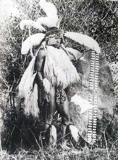 Zulu warrior in full regimental regalia, 1870s.