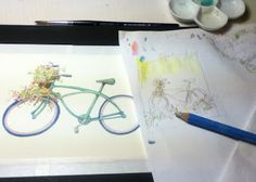 want to peek into my daily process? having fun with vintage bike, asketchaday-ConnecticutRamblings: PHOTOSHOP MAGIC