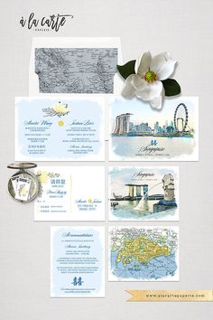 Singapore Asia Chinese Wedding bilingual illustrated Destination wedding invitation