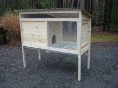 Rabbit hutch plans  This would also make a decent coop for 2 or 3 birds just by putting a walkway underneath and chicken wire around the legs on the bottom.