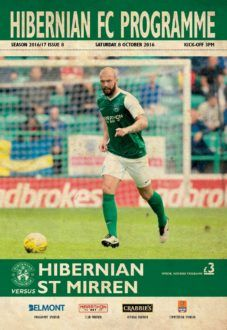 Hibernian 1 St Mirren 2 in Oct 2016 at Easter Road. The programme cover for the Scottish Challenge Cup 4th Round.