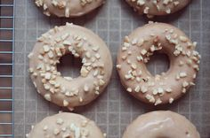 Cinnamon Glazed Donuts with Cashew Sprinkles 🍩 Donut Glaze, Doughnut, Donuts, Sprinkles, Cinnamon, Vegan, Instagram Posts, Desserts, Food