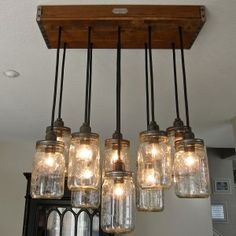 Mason Jar Lamp Chandelier