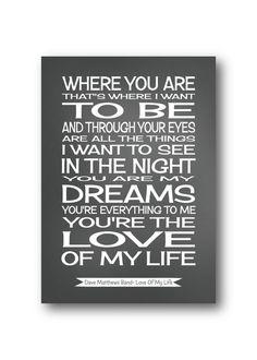 Dave Matthews Band lyricssong lyrics print by PinkMilkshakeDesigns