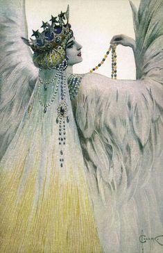 angel, sergey solomko, swan white, art, 1917, white swan, sergei solomko, maria swan, illustr