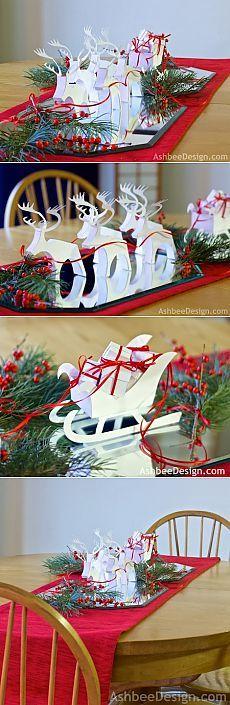 Северные олени и сани с новогодними подарками из бумаги. Шаблоны.
