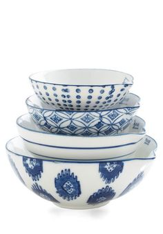 Even your cookware has intentional charm now that you've got these lovely ceramic measuring cups. This stoneware set touts four unique hand-stamped designs in blue and white, each one taking a bowl-like shape with a handy spout for easy pouring. Vintage Kitchen, Retro Vintage, Vintage Style, Kitchenware, Tableware, White Dishes, Measuring Cups, Gifts For Wife, Modcloth