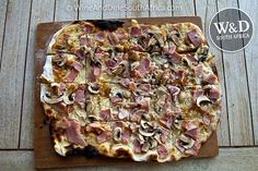 Traditional Flammekuchen a German speciality in the Winelands of South Africa.