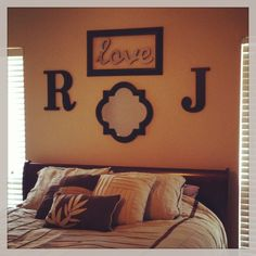 Hobby Lobby letters, mirror love, and open frame.above headboard decor. Replacement for a headboard. Above Headboard Decor, Bedroom Wall Decor Above Bed, Bedroom Decor, Bedroom Ideas, Mirror Bedroom, Bed Ideas, Wall Mirror, Small Master Bedroom, Home Bedroom