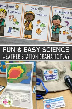 preschool classroom set up Your kids will have fun learning about the weather when you set up a weather station dramatic play area. Encourage pretend play, math, science, and Weather Activities Preschool, Science Center Preschool, Weather Science, Preschool Lesson Plans, Kindergarten Science Centers, Science Lesson Plans, Preschool Ideas, Steam Activities, Preschool Printables