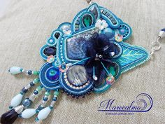 Teal blue necklace Soutache necklace embroidered necklace